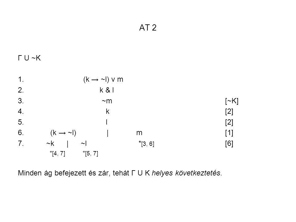 AT 2 Γ U ~K (k → ~l) v m k & l ~m [~K] k [2] l [2] (k → ~l) | m [1]